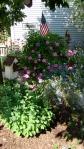 old dye pots serve as basket for flowers