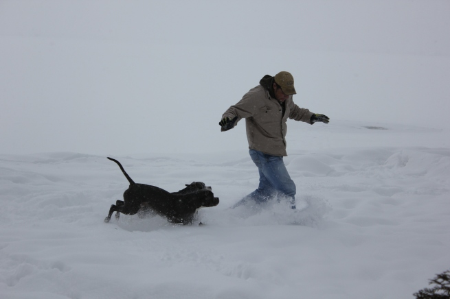 the boys playing in the snow...