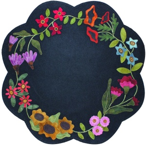 "Garden Blooms Table Mat 22"" Finished Size Designed by:  Lisa Bongean Primitive Gatherings Kit/Pattern $60 Pattern only $10"