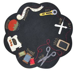 "Needful Things Table Mat Finished Size: 18"" Designed by:  Lisa Bongean Primitive Gatherings Kit/Pattern $38 Pattern only $9"