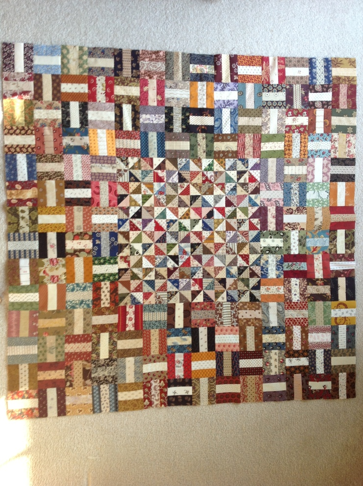 Debbie Brandenburd... leftovers from Pieced SBOW...pieced with some left over Laundry Basket blocks