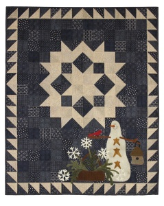 Snowflake Garden 33x42 Pattern $12 Kit/Pattern $72 Designed by Lisa Bongean Primitive Gatherings featuring Snowman Gatherings Fabrics from Moda