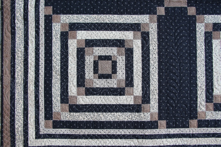 Close up quilting of Square Dance Dark....Quilted by Valerie Krueger