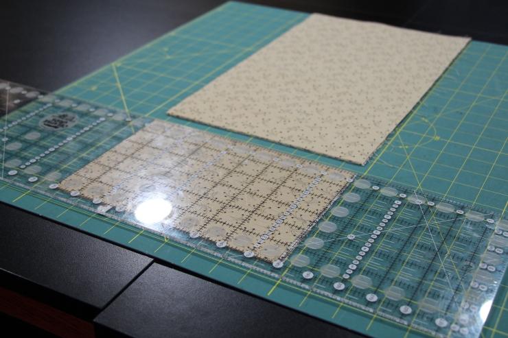 "I will be cutting 1 1/2"" squares here...I cut a 6"" cut..."